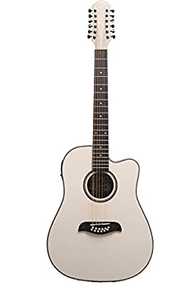 Oscar Schmidt OD312CEWH 12-Strings Acoustic-Electric Guitar - White