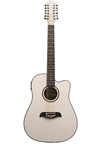 Oscar Schmidt OD312CEWH 12-Strings Acoustic Electric Guitar with Barcus Berry EQ4T Preamp System – White