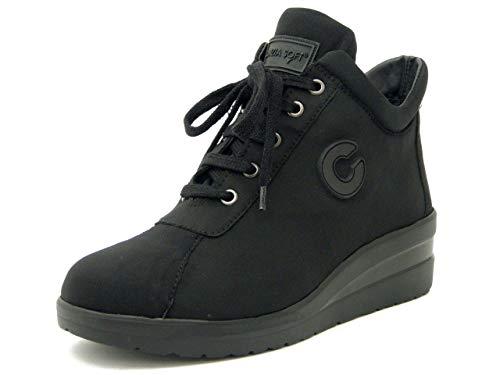 Con 4 9784 Cinzia Elasticizzato Cerniera Cm Sneaker Comfort Osvaldo Pericoli Estraibile Plantare Zeppa Soft In Tessuto Nero WS6cWXq