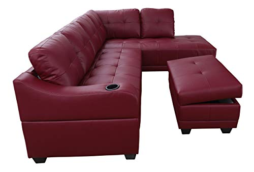 Beverly Fine Funiture CT7303B Sectional Sofa Set, Burgundy