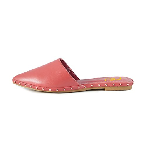 FSJ Women Pointed Toe Flats Low Heels With Studs Casual Slip On Mules For Daily Wearing Size 4-15 US Indian Red BgujMyjq