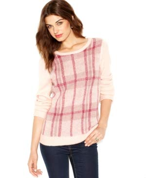 (Maison Jules Women's Long Sleeve Crew Neck Plaid Sweater, Pearl Blush, Medium)