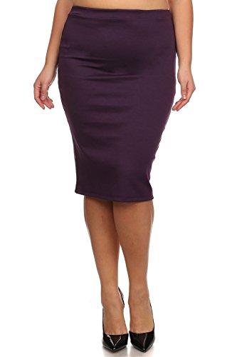 Women's Plus Size Solid Midi Length Pencil Skirt. Made In USA (X-Large, Plum) (Plaid Skirt Plum)