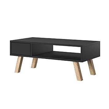 Selsey Vero Wood Table Basse Petite Table Table De Salon En Style Scandinave 80 Cm Noir Mat Noir Mat