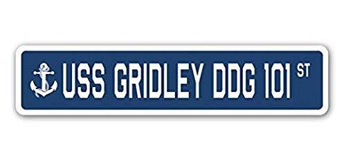 Hot Plates USS Gridley Ddg 101 Street Sign DECAL STICKER US Navy Veteran (101 Street Sign)