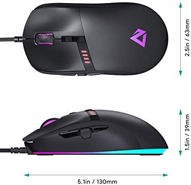 AUKEY Knight Gaming Mouse, RGB Wired Gaming Mouse with 10000 DPI, 8 Programmable Buttons, RGB Lighting Effects, Macros, Fire Button Gaming Mice for PC and Mac 31I8kgVrRBL