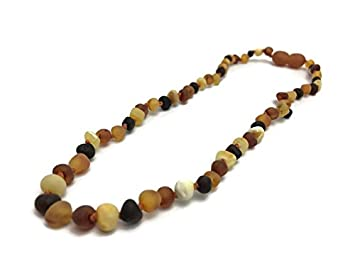 Certified Baltic Amber Teething Necklace with Safety Clasp Multicolored Amber,11 Unpolished Raw