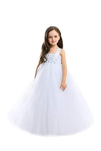 MALIBULICo Baby Girls' White Fluffy Flower Girl Tutu Dress for Wedding and Birthday Photoshoot