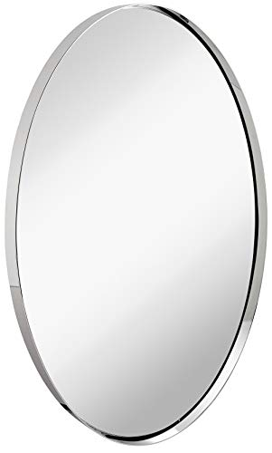 Hamilton Hills Contemporary Polished Metal Wall Mirror | Oval Polished Silver Framed - Bathroom Art Mirrors Designs