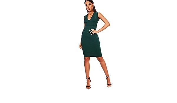 YourPrimeOutlet - Vestido - para mujer Verde verde botella 40: Amazon.es: Ropa y accesorios
