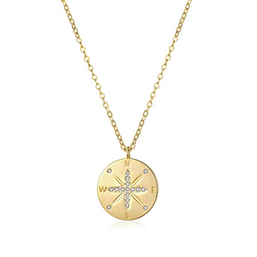 """(I'S ISAACSONG Inspirational 925 Sterling Silver Minimalist Necklace – Compass, Flower, Anchor, Crescent Moon Round Pendant Necklace for Women and Girls, 16"""" – 18"""" inches)"""