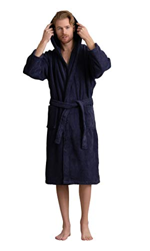 Men's Hooded Robe, Turkish Cotton Terry Hooded Spa Bathrobe (Navy, Large/One Size)