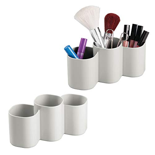mDesign Plastic Makeup Organizer Cup for Bathroom Vanity Countertop or Cabinet to Hold Brushes, Lipstick, Mascara, Brow Pencils, Eye Liners, Tweezers, Beauty Products, 3 Compartments, 2 Pack - Gray