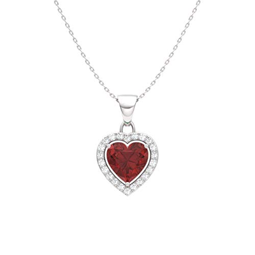 Diamondere Natural and Certified Garnet and Diamond Heart Petite Necklace in 14k White Gold | 0.51 Carat Pendant with Chain ()
