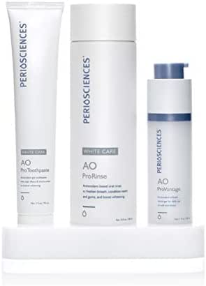 PerioSciences Antioxidant Oral Care System White Care 3-Product Kit: 30ml Dental Gel, 3oz Toothpaste, 10oz Rinse, Complete Teeth Whitening System