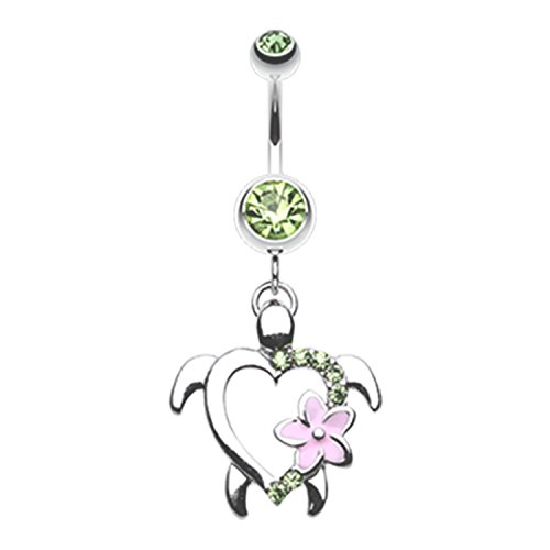Hawaiian Flower Turtle Belly Button Ring Surgical Steel Size 14ga 3