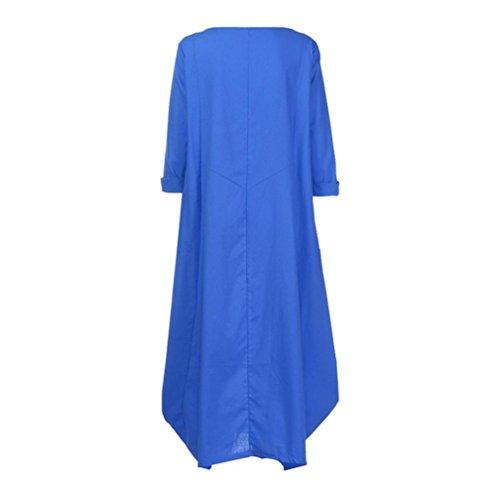 zahuihuiM occasionnel coton baggy maxi ample cou robe du ras col longue Bleu Femmes ample rqwXgr