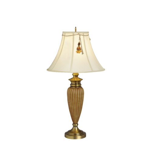 Kichler  70335 Raya 32-Inch Portable Table Lamp, Antique Brass and Two-Tone Amber with Light Ecru Shade and Golden Amber Beaded Tassel