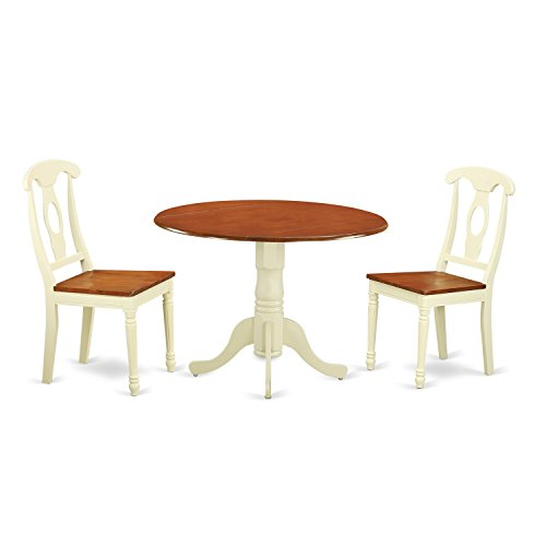 (East West Furniture DLKE3-BMK-W 3 Piece Dining Table and 2 Chairs Set)