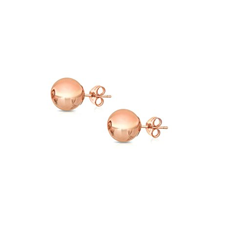 14K Gold Ball Stud Earrings, Sizes 3MM-8MM (Rose Gold, 3) by Orostar