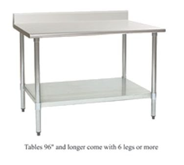 (Deluxe Work Table, 24W X 36L, 16 Ga Type 304 S/S Top W/4-1/2 Backsplash, Rolled Front Edge, Sq.)