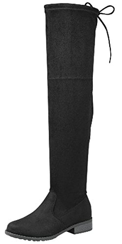 Flat Heel Thigh Boot - Forever Link Women's Over The Knee Thigh High Flat Boot (9 B(M) US, Black)