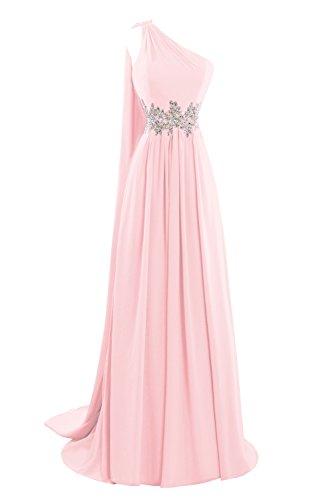 Bess Women's Mariée Une Robes De Soirée De Bal Épaule Longues Formelle Rose Rougissant
