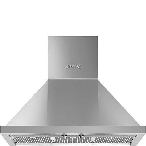 Smeg Portofino Series 30-Inch Wall Mount Ducted Chimney Hood with 600 CFM, Recirculating Option & LED Lights (Stainless Steel)