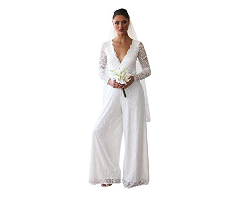 Blush Fashion Wedding Party White Dressy Jumpsuit For Bridal Lace