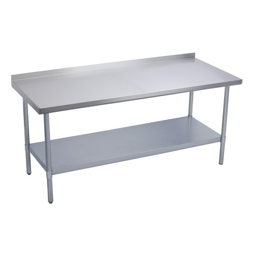 Elkay Commercial Grade NSF Stainless Steel Table with Backsplash Adjustable Height Feet and Undershelf, 72'' x 30'' by Elkay Foodservice