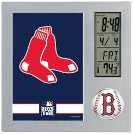 MLB Boston Red Sox Desk Clock, Black (Mlb Baseball Alarm Clock)