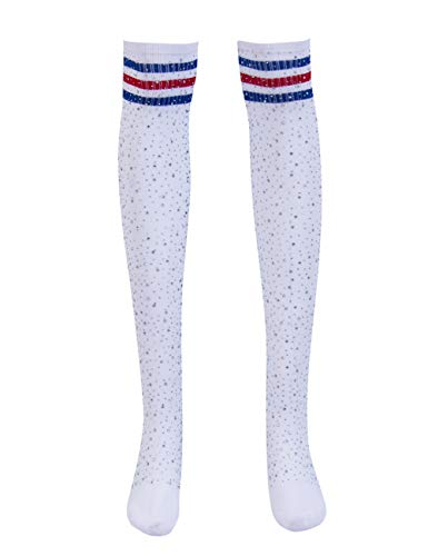 Women Winter Sexy Rhinestone Thigh High Socks Cable Knit Colorful Striped Stockings Girls Over Knee Leg Warmers (White Blue Stripe) -