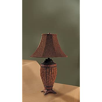 Set of 2 table lamps with bamboo style in brown finish household set of 2 table lamps with bamboo style in brown finish aloadofball Image collections
