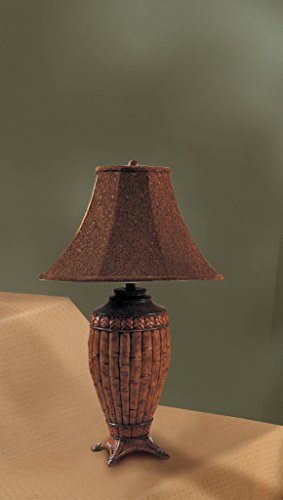(Set of 2 Table Lamps with Bamboo Style in Brown Finish)