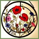 Decorative Hand Painted Stained Glass Window Sun Catcher/Roundel in a Cornfield Flowers Design.