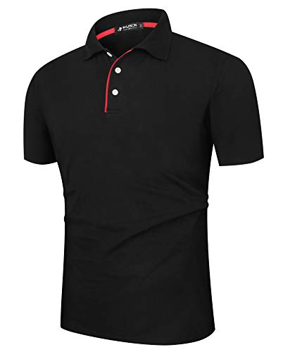- Musen Men Black Polo Shirts Short Sleeve Cotton Classic Polo T-Shirts Fit Casual Tennis Shirt S