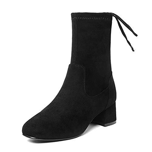 Talon couleur Martin Noir Rétro Taille Noir Épais Hautes 5cm Bottes Du Femme Loisirs Hwf Hauteur 39 D'hiver Femmes Chaussures De Pour q1YzqfT