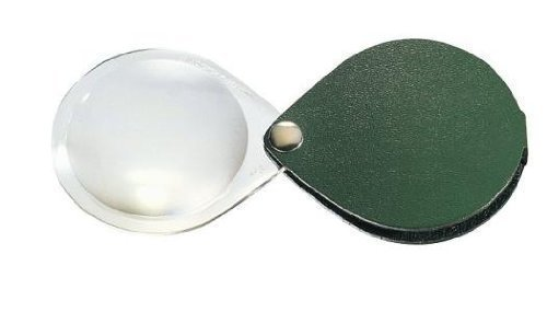 - Eschenbach Classic No. 17402-50 50mm 10D 3.5x Folding Round Magnifier with pine green Leather Case