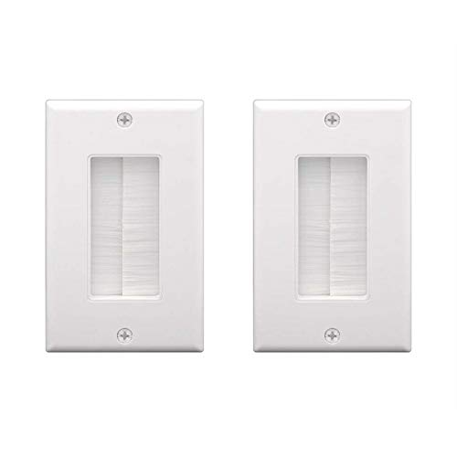([UL Listed] VCE 2-Pack Single Brush Wall Plate - White)