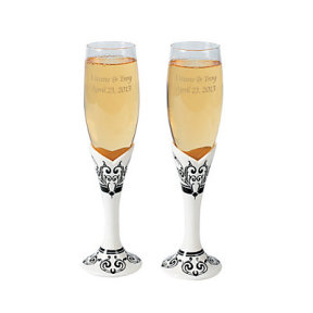 Personalized Black & White Wedding Flutes - Oriental Trading