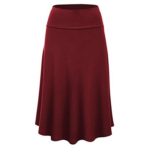 Lenfesh Femme Jupe Patineuse Taille Haute Vintage Mi Longue Chic RTro Midi Jupe Pliss Rouge