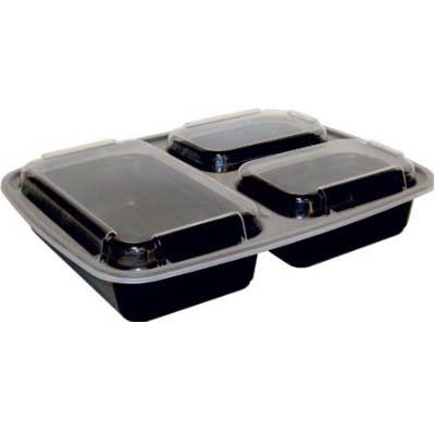 32 oz Microwaveable 3 Compartment Black Rectangular Container Lid Combo 150 CT