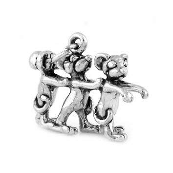 (Sterling Silver Three Blind Mice Charm (3D Charm) Jewerly Making Supply Bracelet DIY Crafting by Easy to be happy!)