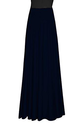 Jersey Maxi Long Skirt (E K Women's plain cotton jersey plus size skirt Long casual pull on flowing maxi skirt (M-L, Navy Blue))