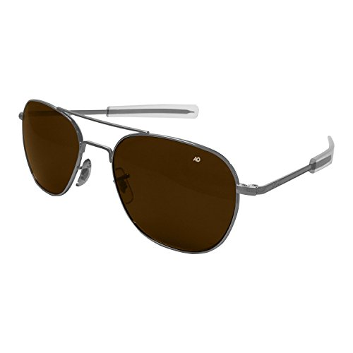AO Eyewear American Optical - Original Pilot Aviator Sunglasses with Bayonet Temple and Matte Chrome, Cosmetan Brown Glass Lens