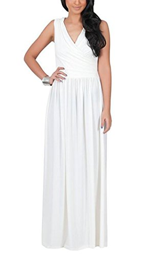 Pure Allonly Women Sexy Plus Fashion Dress Size Ruched Color Cross Maxi White Neck V Irregular rEUdqPwE