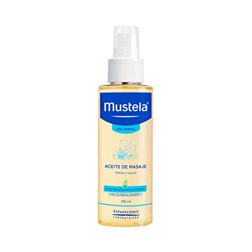 Mustela Aceite de masaje para bebé o niño con Piel Normal a base de ingredientes naturales, 100ml