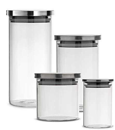 Kitchen Canister Set of 4, Glass Jars with Airtight Stainless Steel Lid, Clear Food Storage Container Ideal for Flour, Sugar, Coffee, Candy, Snack and More