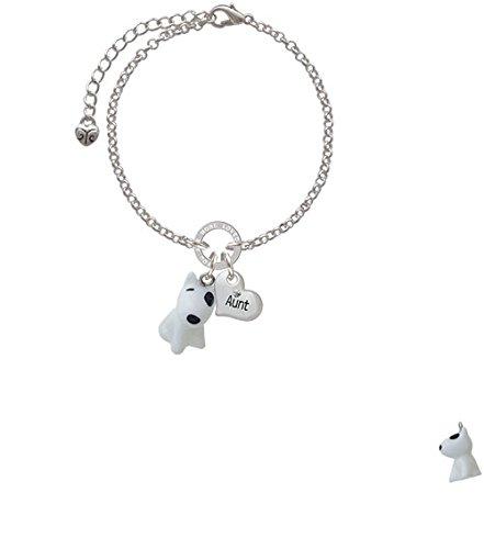 8 Resin White Bull Terrier Dog Aunt You Are Loved Circle Bracelet