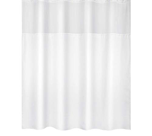 (Sfoothome Polyester Shower Curtain, Waterproof Shower Curtains with Light Filtering Window, 72inch x 78inch(White))